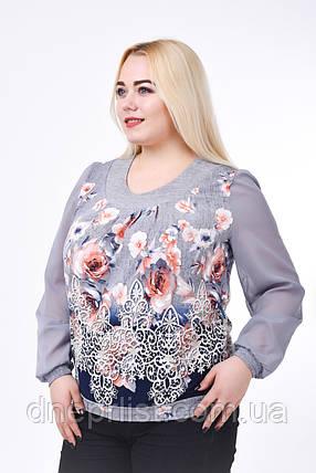 Блуза женская с шифоном КА-001 (серый), фото 2