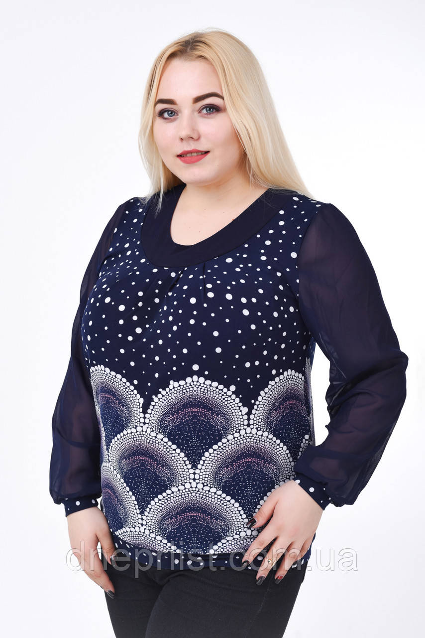 Блуза женская с шифоном КА-003 (синий)
