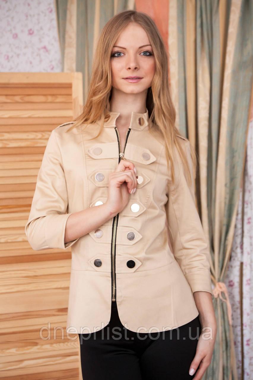 Піджак жіночий Гусарик №1 стрейч - котон (бежевий)