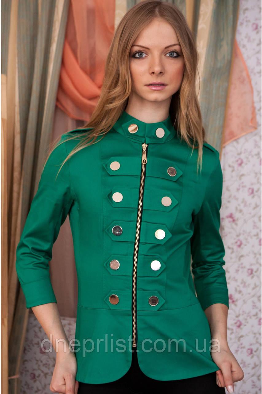 Пиджак женский Гусарик №1 стрейч - коттон (зелёный)