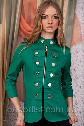 Пиджак женский Гусарик №1 стрейч - коттон (зелёный), фото 2