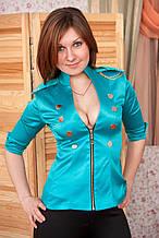 Пиджак женский Гусарик №2 стрейч - атлас (бирюза)