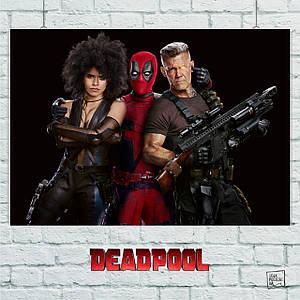 Постер Deadpool 2: Дэдпул, Домино и Кэйбл. Размер 60x42см (A2). Глянцевая бумага