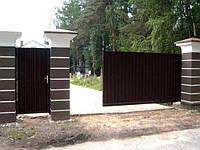 Откатные ворота из профнастила в Днепропетровске, фото 1