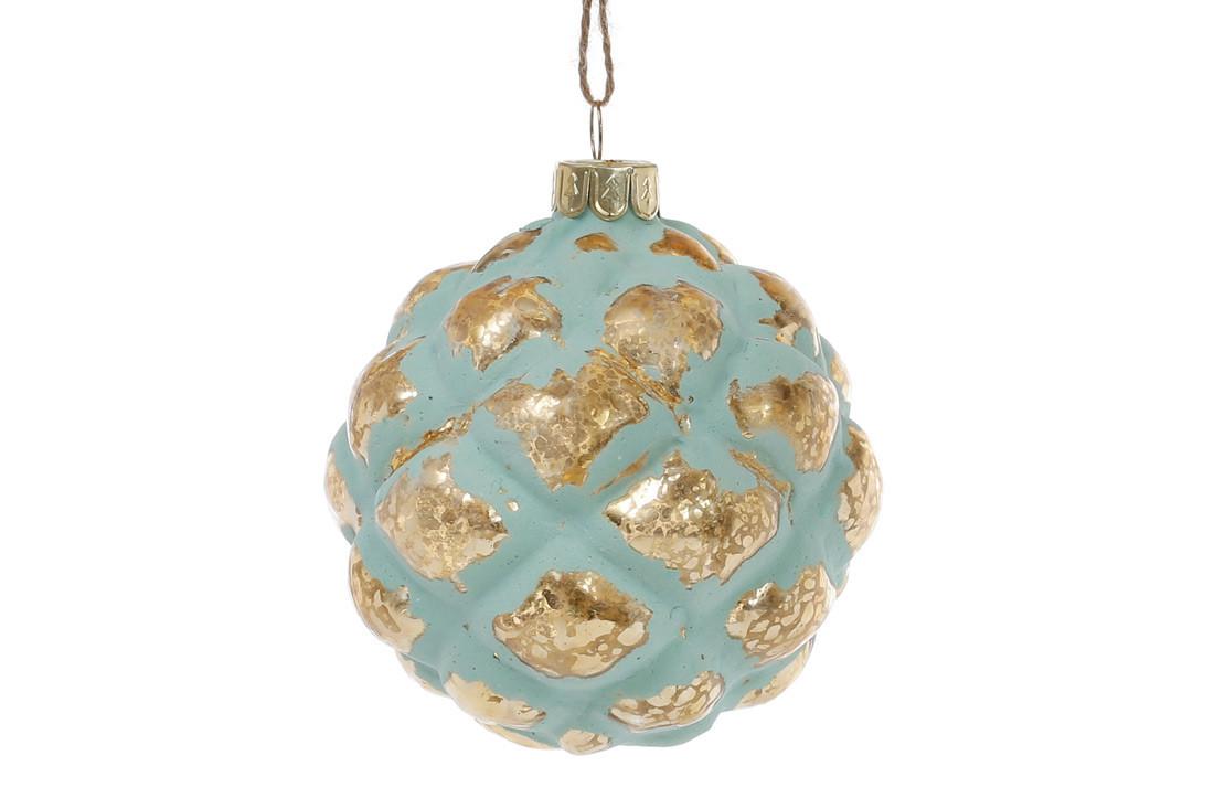 Елочный шар 8см цвет - мята с золотом (172-252)