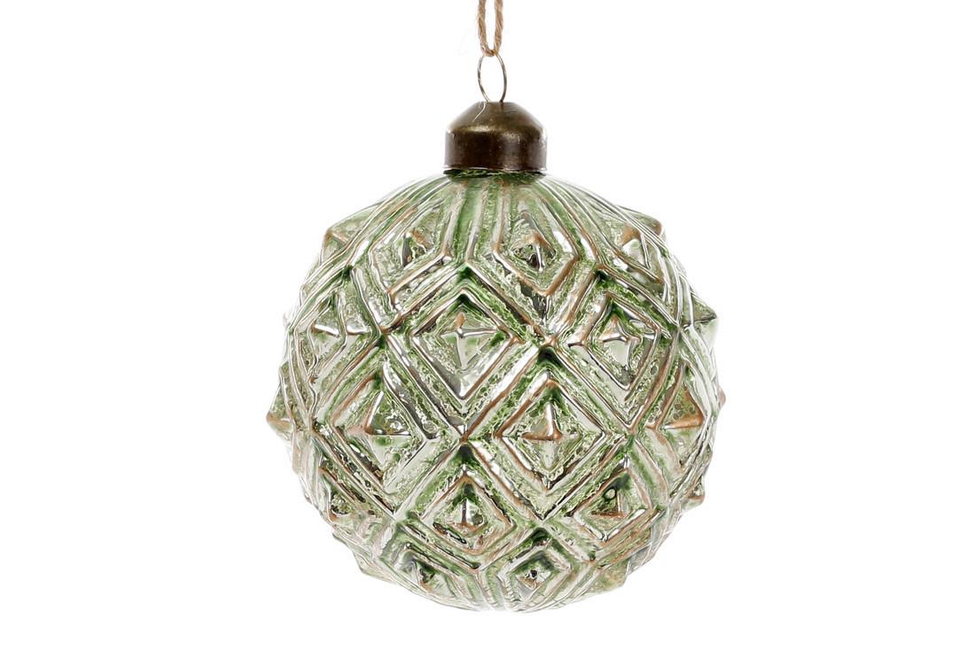 Шар елочный, 8см, цвет - зеленый нефрит (NY15-347)