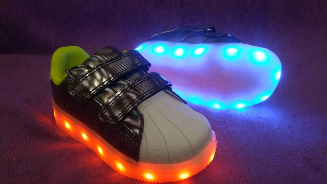 36р (23,0см) Светящиеся кроссовки LED superstar детские на липучке