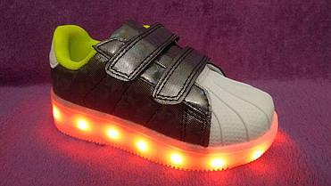36р (23,0см) Светящиеся кроссовки LED superstar детские на липучке, фото 2