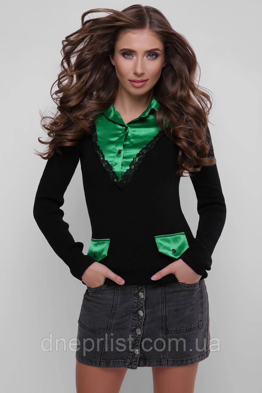 Джемпер-рубашка женский 105  (чёрный-зелёный)
