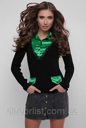 Джемпер-рубашка женский 105  (чёрный-зелёный), фото 2