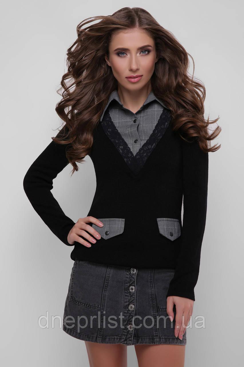 Джемпер-рубашка женский 105  (чёрный-серый)