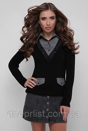 Джемпер-рубашка женский 105  (чёрный-серый), фото 2