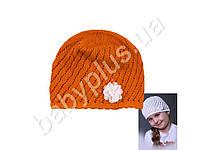 Шапка детская. Оранжевый цвет. Обхват головы 52-54 см.