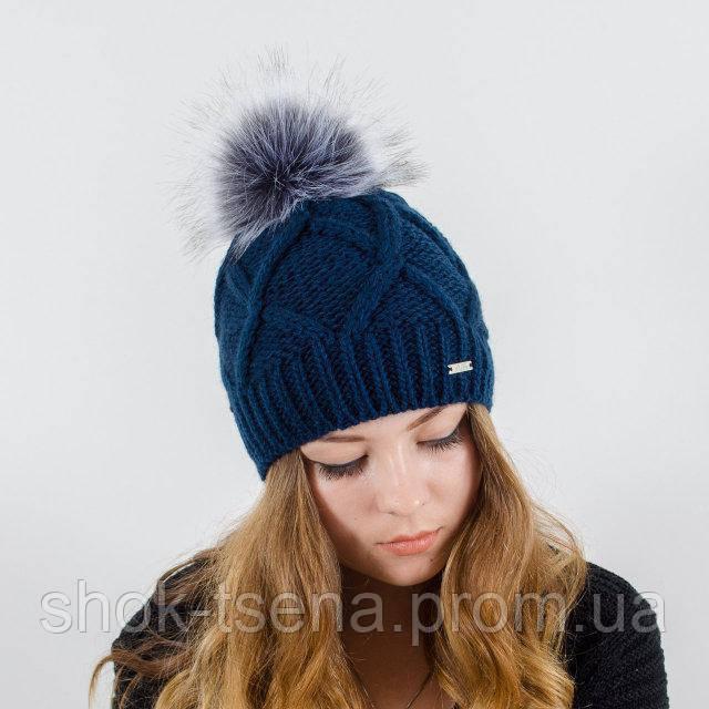 вязаная женская шапка Lalli с меховым помпоном продажа цена в