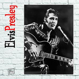 Постер Элвис Пресли, Elvis Presley (тёмное фото с гитарой). Размер 60x42см (A2). Глянцевая бумага