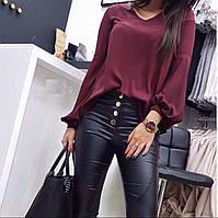 Блузка шелковая стильная, с длинным пышным рукавом рукавом, без застежки