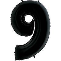 """Фольгированный шар цифра """"9"""", черный (40""""/1метр)"""