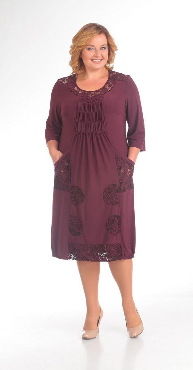 Платье Pretty-201/6 белорусский трикотаж, бордо, 52