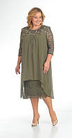 Платье Pretty-642/4 белорусский трикотаж, хаки, 56