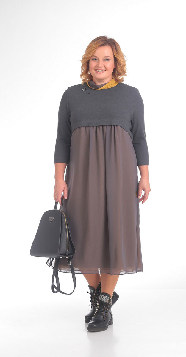 Платье Pretty-754/3 белорусский трикотаж, серые тона, 54