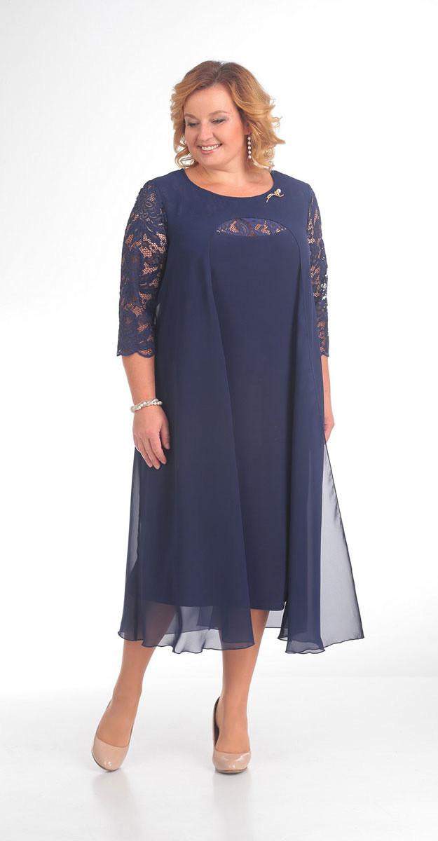 Платье Pretty-786 белорусский трикотаж, синий, 56