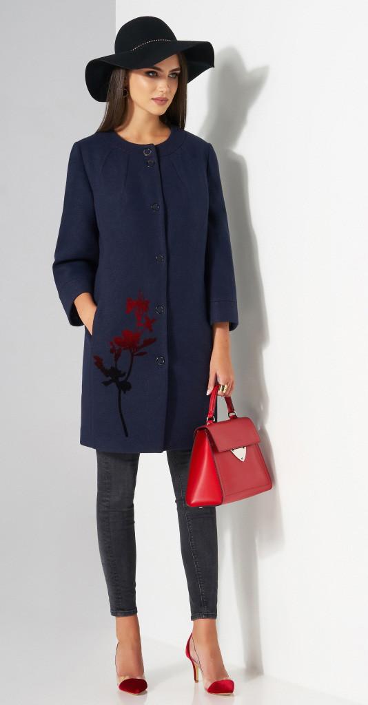 Пальто Lissana-3483 белорусский трикотаж, темно-синий, 50