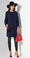 Пальто Lissana-3483 белорусский трикотаж, темно-синий, 50, фото 1