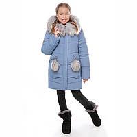 """Зимнее пальто для девочек """"Алиса"""", джинс"""