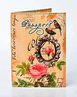 Обложка на паспорт с розой и птичками
