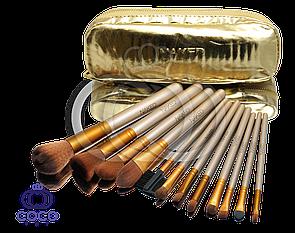 Набір кистей для макіяжу Naked 12 шт в золотому гаманці