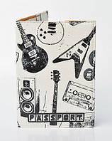 """Обложка на паспорт, материал экокожа, """"Музыкальные инструменты"""""""