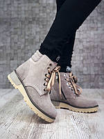 Женские бежевые зимние ботинки в стиле Тимберленд