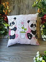 Подушка панды с цветком , 35 см * 35 см