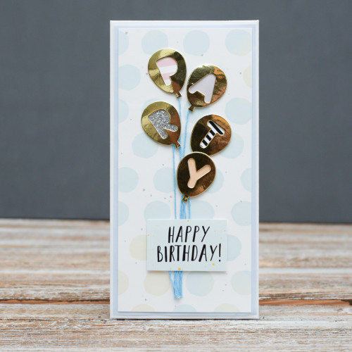 Открытка конверт Happy Birthday Воздушные шарики Party золотые