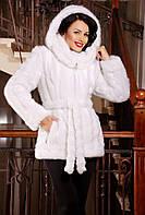 Жіноча зимова шубка з еко-хутра під норку, біла