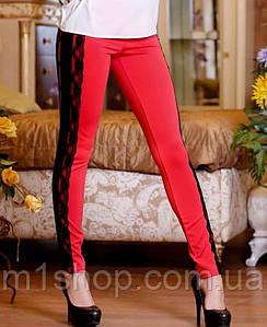 Женские красные трикотажные лосины с кожаными лампасами (0698 svt)