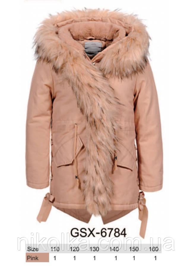 Куртки на меху для девочек оптом, Glo-Story, 110-160 рр., арт. GSX-6784