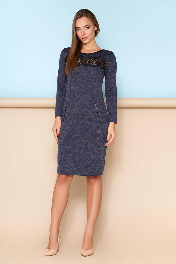Элегантное платье с кружевной отделкой синее, фото 2