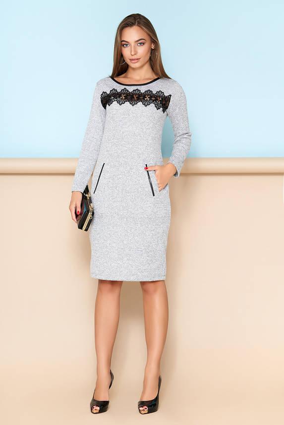 Элегантное платье с кружевной отделкой серое, фото 2