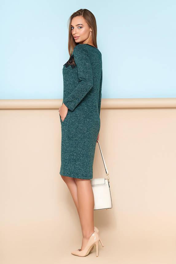 Элегантное платье с кружевной отделкой зеленое, фото 2