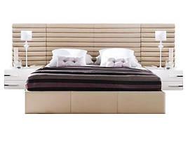 Ліжко з м'якою спинкою з підйомним механізмом Бруклін (160 х 200) КІМ