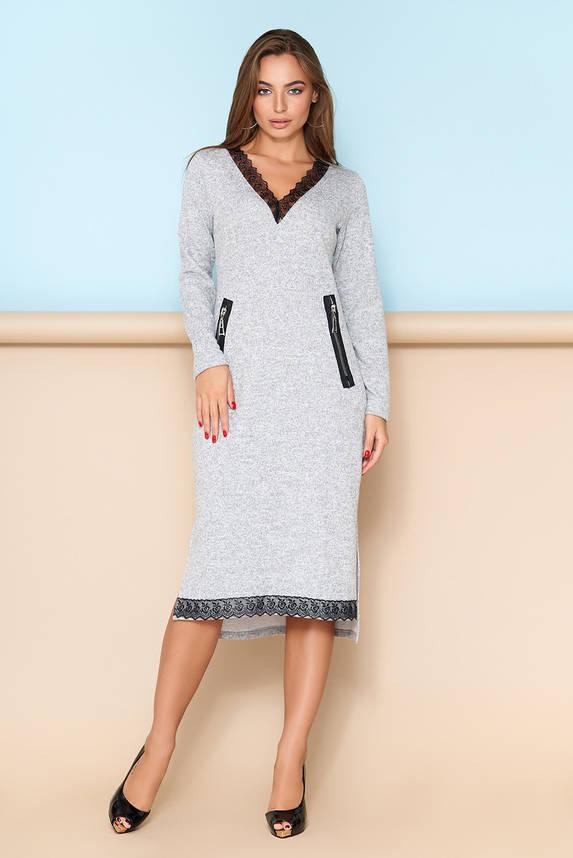 Женское платье с кружевной отделкой серое, фото 2