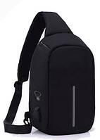 Рюкзак Antivor через плечо c защитой от карманников, с USB зарядным и портом для наушников Black