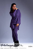 Стильный костюм тройка для полных фиолет, фото 1