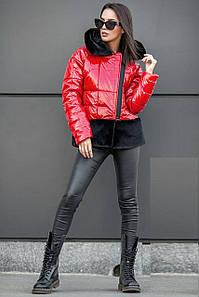 Женская демисезонная короткая куртка на синтепухе красного цвета