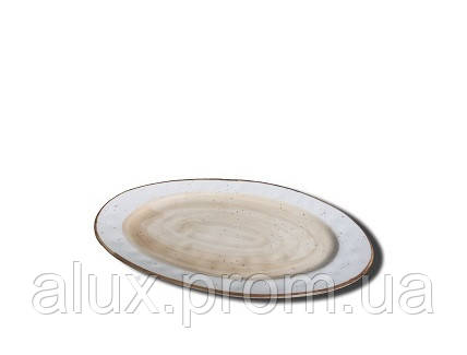 """Тарілка овальна 12""""(30х18см) світло-коричнева 20(4)шт FB3702LB-12CS"""