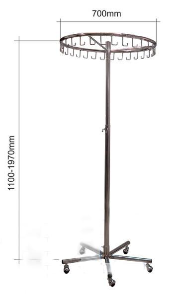 Вішалка кругла одинарна з крючками в хромі