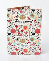 """Обложка на паспорт, материал экокожа, """"Птички и цветы"""""""