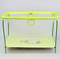"""Манеж евро №10 ЛЮКС """"Hello Kitty"""" - цвет жёлтый, прямоугольный, мягкое дно, евро сетка"""