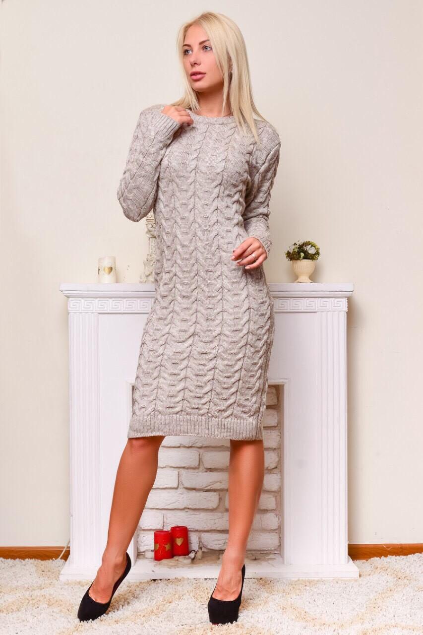 Женское платье крупная вязка (в расцветках)